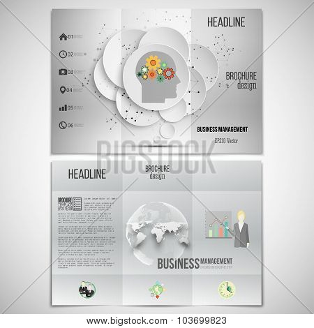Vector set of tri-fold brochure design template on both sides. Gray background, human head with gear