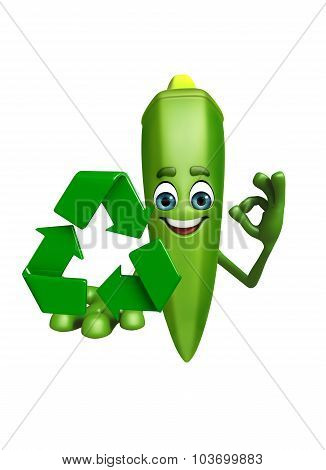 Cartoon Character Of Ladyfinger  With Recycling Icon