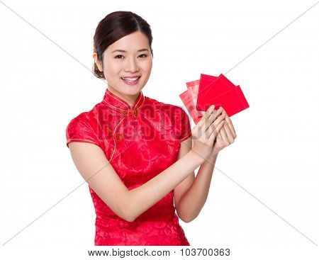 Chinese woman with red pocket