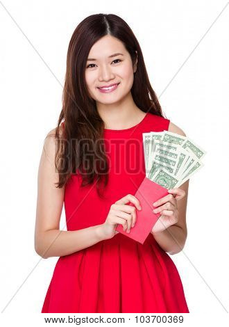 Chinese Woman hold red pocket with USD