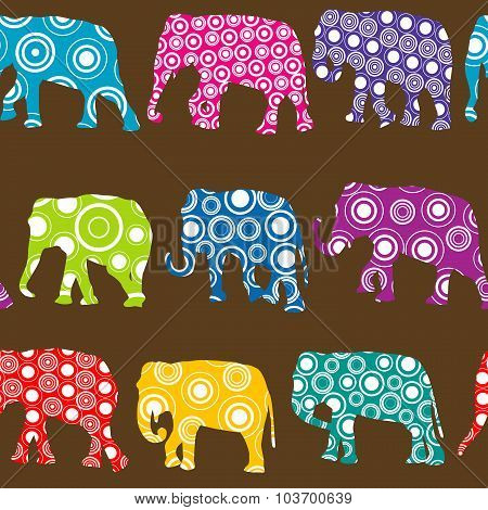 Colorful Pattern With Ornate Patterned Elephants