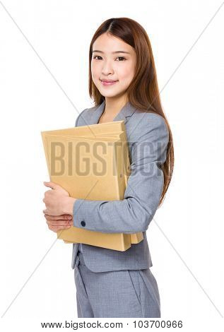 Businesswoman hold with folder