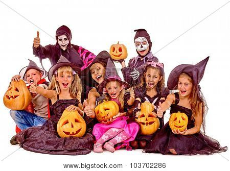Halloween party with group children with pumkin. Isolated.