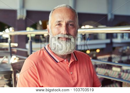 portrait of cheerful senior man with grey-haired beard in cafe