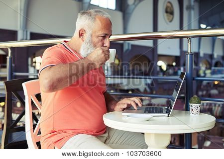 senior bearded man drinking coffee and looking at laptop in cafe