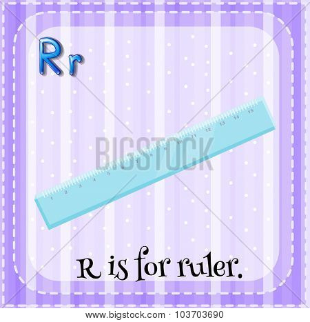 Flashcard letter R is for ruler illustration