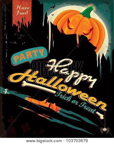 Vintage Halloween poster design