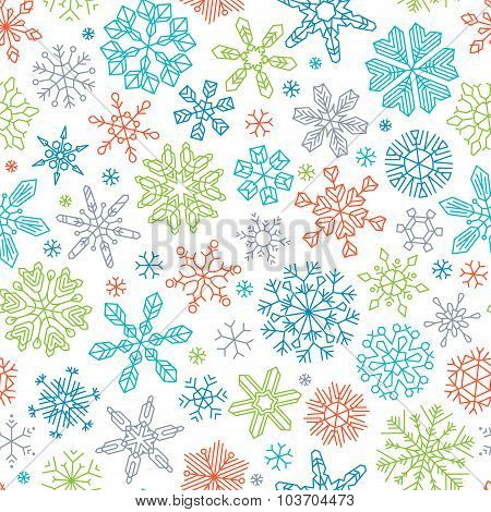 Seamless Linear Snowflakes Pattern.