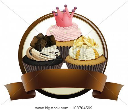 Cupcakes with brown banner illustration