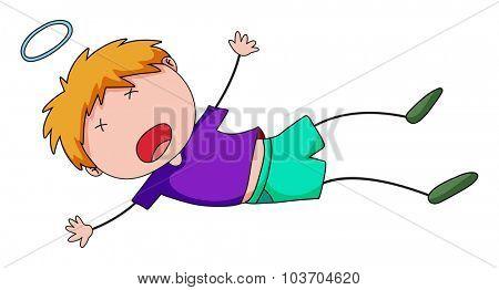 Little boy falling down illustration