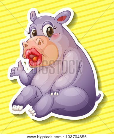 Hippo wearing make up illustration