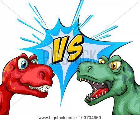 Two T-Rex fighting each other illustration