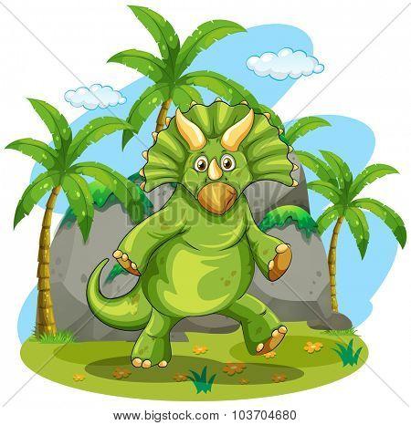 Green dinosaur standing on two feet illustration