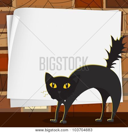 Halloween theme with black cat illustration