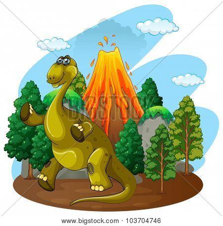 Dinosaur and volcano eruption illustration