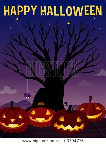 Halloween theme with tree and pumpkins illustration