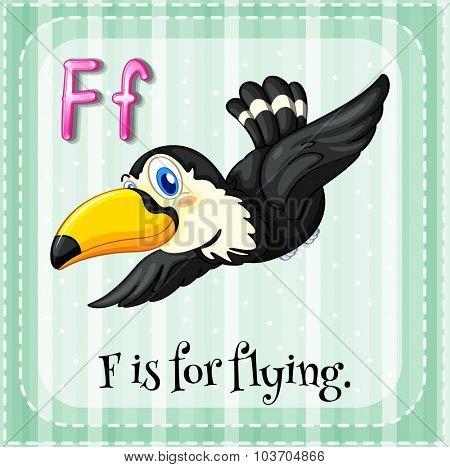 Flashcard alphabet F is for flying illustration