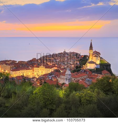 Picturesque old town Piran in sunset, Slovenia.