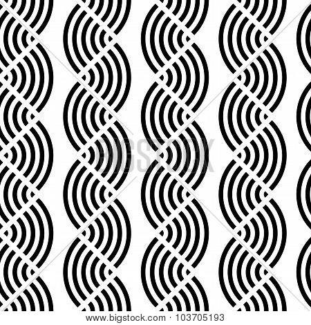 Design Seamless Monochrome Waving Geometric Pattern