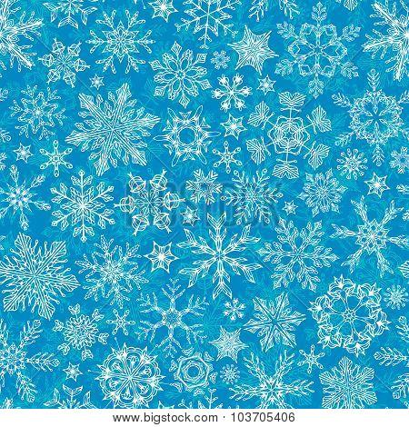 Seamless Winter Snowflakes Pattern.