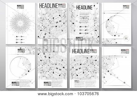 Business and scientific vector templates with molecular structure background for brochures, flyers o