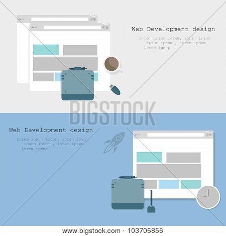 Web Development Design Brochure Two Variants Background Stylish