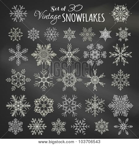 Vector Set Of 30 Chalk Snowflakes.