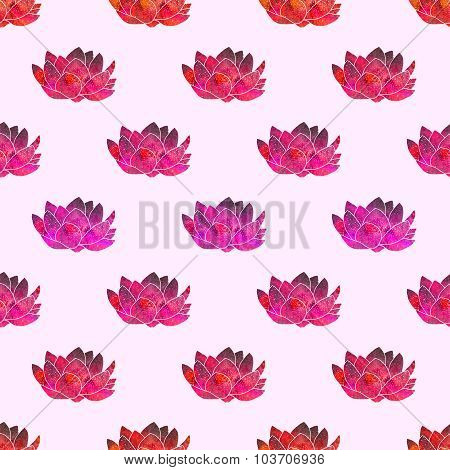 Red lotus. Seamless pattern with cosmic or galaxy flowers. Hand-drawn original floral background.