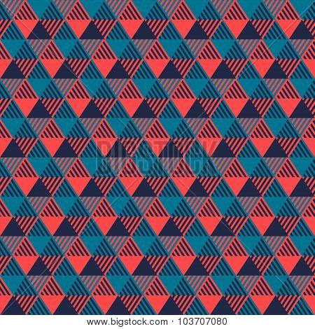 Triangles geometric seamless pattern in grey blue and pink, vector