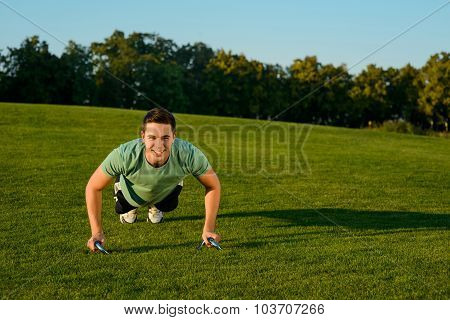Guy engaged in sports in the park.