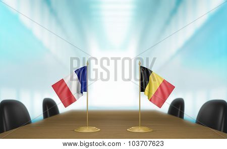 France and Belgium relations and trade deal talks 3D rendering
