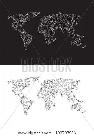Polygonal world map easy editable