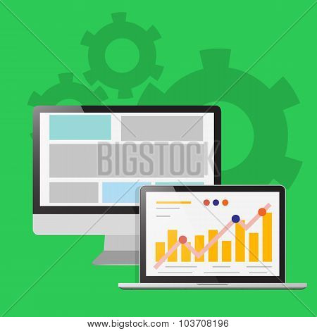 Illustration A Laptop Screen, The Design Concept Of Graph