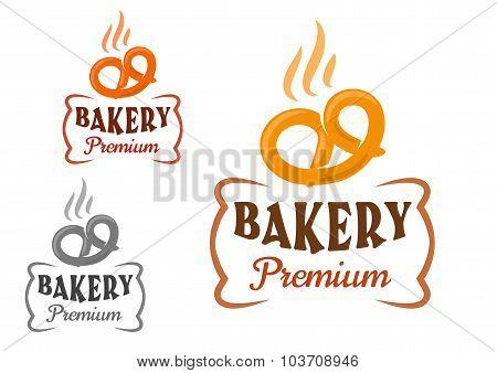 Bakery emblems with fresh pretzel