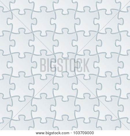 Jigsaw puzzle. White perforated paper with cut out effect. Abstract 3d seamless background.