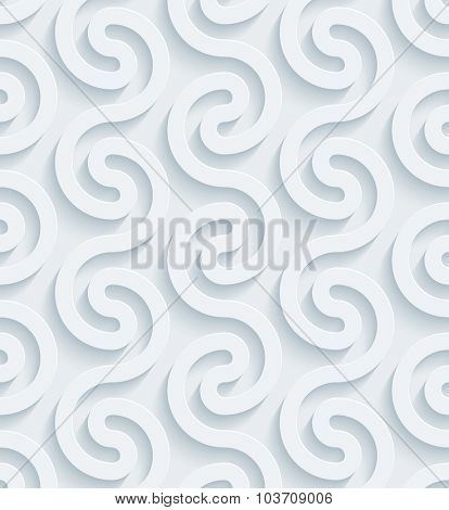 Wavy Meander. White perforated paper with cut out effect. 3d seamless background.