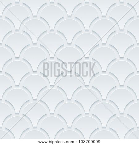 Fish skin. White perforated paper with cut out effect. 3d seamless background.