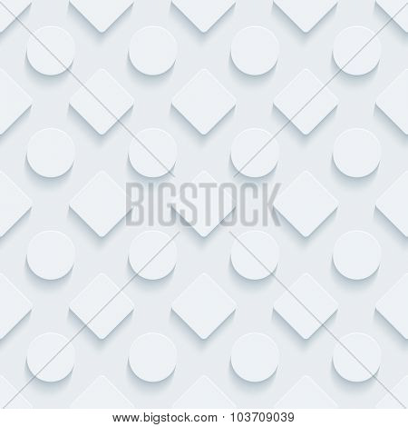 Circles and squares. White perforated paper with cut out effect. 3d seamless background.
