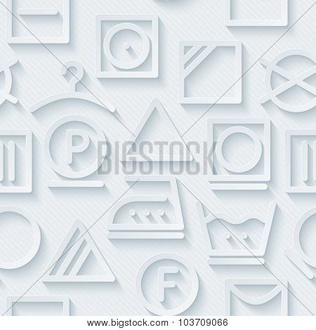 Laundry. Light perforated paper with cut out effect. 3d seamless background.