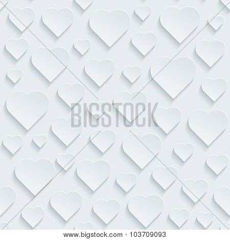 Hearts. White perforated paper with cut out effect. 3d seamless background.