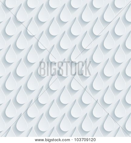 Rain drop. White perforated paper with cut out effect. 3d seamless background.