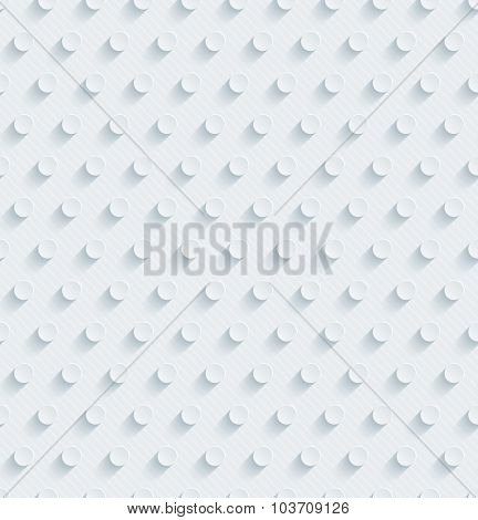 Dots. White perforated paper with cut out effect. 3d seamless background.