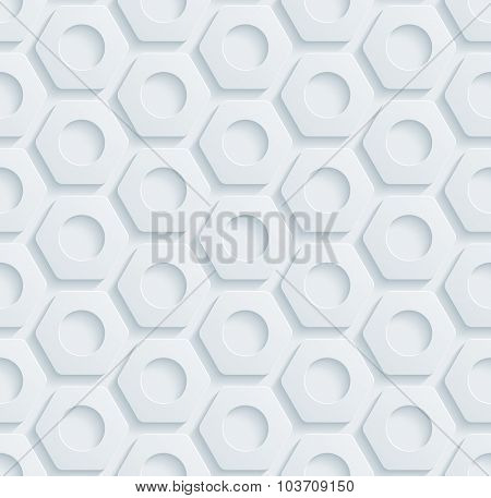 Nuts pattern. White perforated paper with cut out effect. Abstract 3d seamless background.