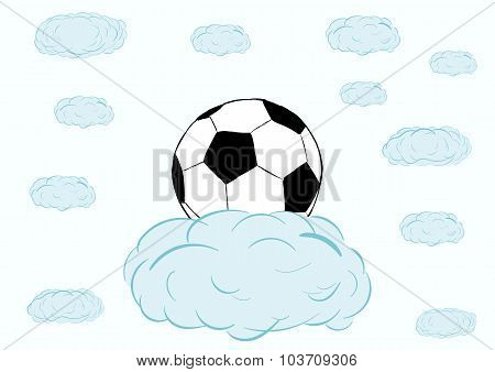 Football ball on a cloud