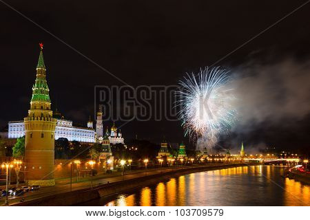 Festive Salute Against The Kremlin In Moscow, Russia