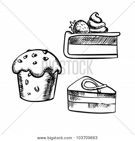 Chocolate cake, cupcake and cheesecake