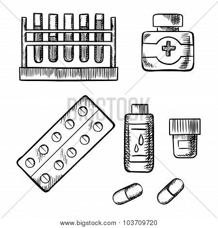 Blood test tubes,  bottles and pills sketch