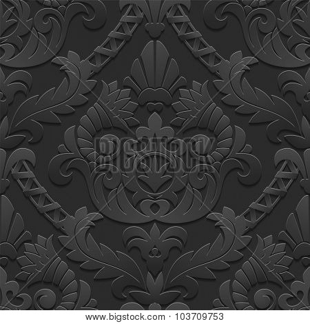 Dark vintage seamless pattern of cut paper background with shadows and highlights