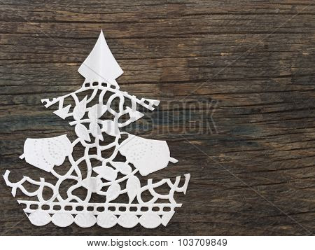 Christmas tree made of paper lace