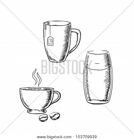 Cup of coffee, tea and glass water sketches